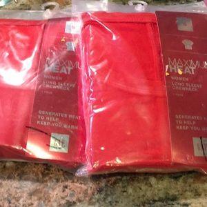 Two size small gap maximum heat shirts red